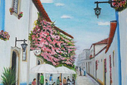 平澤 圭/ケー・ヒラサワ「花の小路 ポルトガル」 油絵